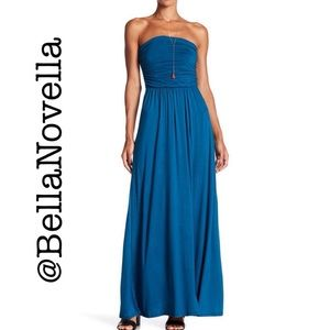 West Kei Dresses - Teal Strapless Maxi Dress LG=12/14